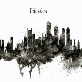 Boston Skyline Black and White by Marian Voicu