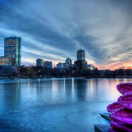 Boston Skyline Sunset on a Frozen Charles River by Joann Vitali