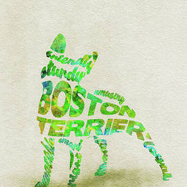 Boston Terrier Watercolor Painting / Typographic Art - Ayse Deniz
