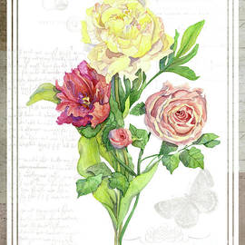 Botanical Vintage Style Watercolor Floral 3 - Peony Tulip And Rose With Butterfly by Audrey Jeanne Roberts