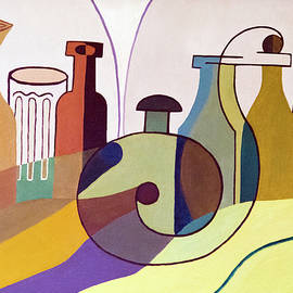 Bottles And Glass - Cubism by Brian Wallace