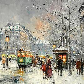 Boulevard des Capucines under the snow, Paris - Antoine Blanchard