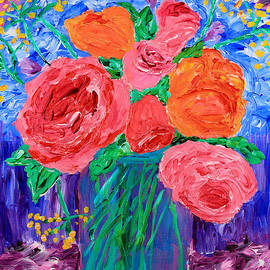 Bouquet Of English Roses In Mason Jar Painting by Beverly Claire Kaiya
