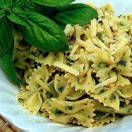 Bow-Tie Pasta with Basil Pesto Sauce and Parmesan Cheese by James Temple