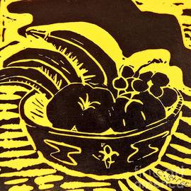 Bowl of Fruit Black on Yellow by Caroline Street