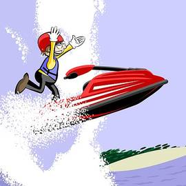 Daniel Ghioldi -  Boy sailing with his red Jet Ski in the big waves of Hawaii