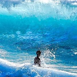 Debra Banks - Boy and Wave   Kekaha Beach