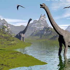 Elenarts - Elena Duvernay Digital Art - Brachiosaurus dinosaurs in water - 3D render