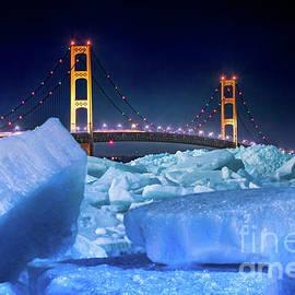 Norris Seward - Bridge Mackinac Blue Ice On A Moonlit Night -3862