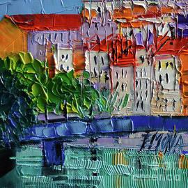 Mona Edulesco - Bridge on the Saone River - Lyon France - Palette Knife Oil Painting By Mona Edulesco