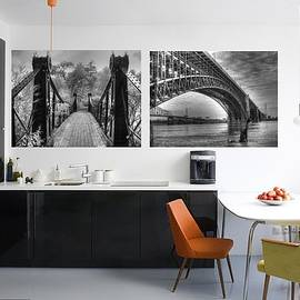 Bridges Kitchen Home Decor Black And White by Jane Linders