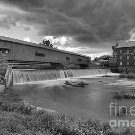 Adam Jewell - Bridgeton Indiana Grist Mill Summer Storms Black And White