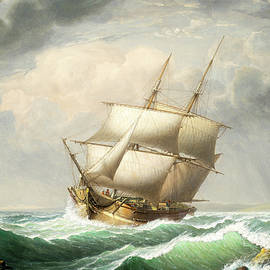Brig Off The Maine Coast By Fitz Henry Lane  1851 by Fitz Henry Lane