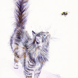 Cat - Bright Eyed and Bushy Tailed by Debra Hall