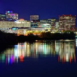 Bright Lights on a Blue Night in Hartford by Frozen in Time Fine Art Photography