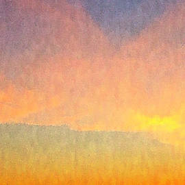 Abstract Landscape Under Bright Sunset