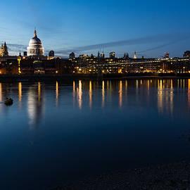 British Symbols and Landmarks - Saint Pauls Cathedral Blue Hour Reflections by Georgia Mizuleva