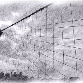 Brooklyn Bridge Pencil Sketch  by Robert McCulloch