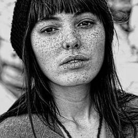 Jim Fitzpatrick - Brown Haired and Freckle Faced Natural Beauty II black and white version
