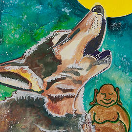 Buddha and the Divine Wolf No. 1370 by Ilisa Millermoon