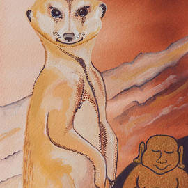 Buddha and the Divine Meerkat No. 2273 by Ilisa Millermoon