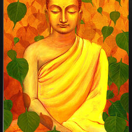Buddha In Green Leaves by Arttantra