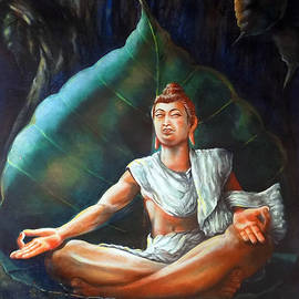 Arun Sivaprasad - Buddha Meditating On A Leaf