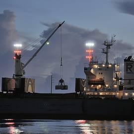 Bulk Cargo Carrier Loading at Dusk by Bradford Martin