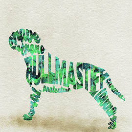 Bullmastiff Watercolor Painting / Typographic Art - Ayse and Deniz