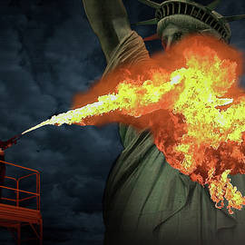 Burning Lady Liberty by M Spadecaller
