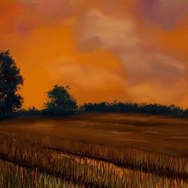 Karen Harding - Burning Orange Sky and Ripening Corn Field