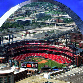 Busch Stadium A View From The Arch Merged Image by Thomas Woolworth