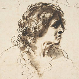 Guercino - Bust of a Man Facing Right