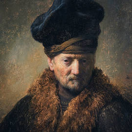 Bust of an Old Man in a Fur Cap - Rembrandt