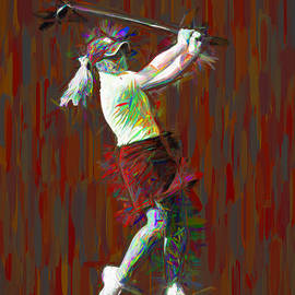 Butler University Bulldog Golfer Jporter Painted Red by David Haskett II