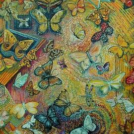Butterflies and caged bee by Susan Brown    Slizys art signature name