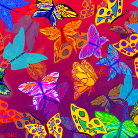 Butterfly Dreams on Red and Purple by Teresa Ascone