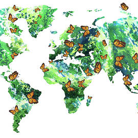 Butterfly Effect World Map Watercolor by Irina Sztukowski