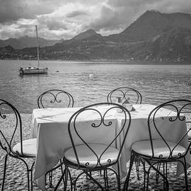 Joan Carroll - Cafe View of Lake Como Italy BW