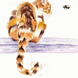 Calico Cat Bee Watchful