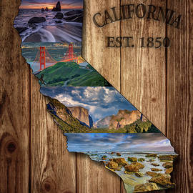 California State Map Collage by Rick Berk