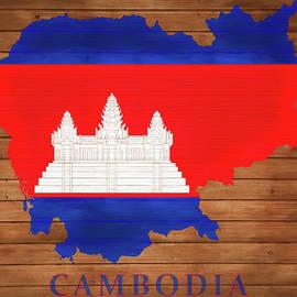 Dan Sproul - Cambodia Rustic Map On Wood