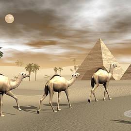 Camels and pyramids - 3D render by Elenarts - Elena Duvernay Digital Art