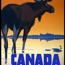 Canada For Big Game Travel Canadian Pacific - Moose - Retro travel Poster - Vintage Poster - Studio Grafiikka