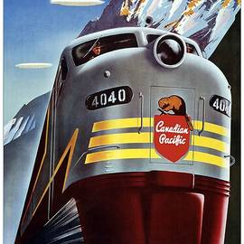 Canadian Pacific - Railroad Engine, Mountains - Retro travel Poster - Vintage Poster - Studio Grafiikka