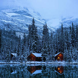 Mike Reid - Canadian Rockies Winter Lodges Snow Reflection
