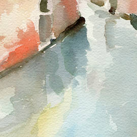 Canal Reflection Watercolor Painting Of Venice Italy by Beverly Brown