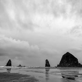 Cannon Beach in black and white by Paul Quinn