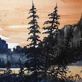 David K Myers - Canyon Trees, Watercolor
