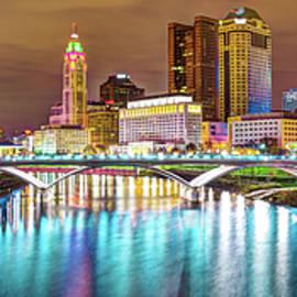Gregory Ballos - Capitol City Panoramic Colors - Columbus Ohio Skyline